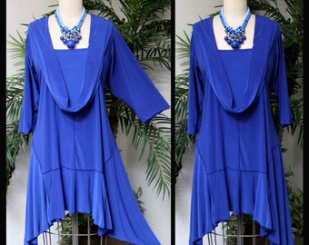 ComfyPlus Crazy Cuts long Lagenlook Plus Size and Regular size Tunic Dress with Mock Front Scarf. Free Shipping Limited Time