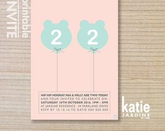 twin girls invitation - kids invitation  - printable invitation - bear balloon - pink - aqua