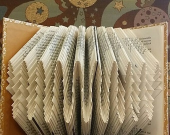 Folded book art, seashell design, recycled book sculpture