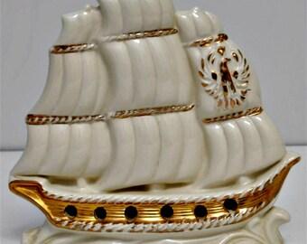 Vintage TV Lamp, Mid Century Ship Lamp by California Originals, Ceramic Clipper Ship, Nautical Lamp, Circa 1950s, Good Working Order