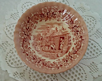 """Vintage """"Red River"""" Bowl by 17th Century England Ironstone, Colonial Style Red Transferware, Small Bowl, Prep Bowl, Cereal Bowl, Circa 1980s"""