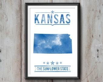 Kansas State Typography Print, Typography Poster, Kansas Poster, Kansas Art, Kansas Gift, Kansas Decor, Kansas Print, Kansas Love, Kansas