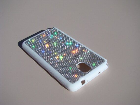 Galaxy Note 3  Clear Diamond Crystals on White Rubber Case. Velvet/Silk Pouch Bag Included, Genuine Rangsee Crystal Cases.