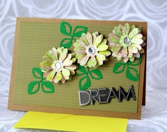 Sale! 2.00 off!  3-D Greeting Card, 3-D, Dream, Encouragement, Flowers