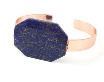 Raw Stone Bracelet, Raw Crystal Cuff, Blue Lapis, Raw Gemstone Bracelet, Raw Gemstone Cuff, Nugget, Healing, Wire Wrapped, Copper Cuff