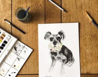Dog Watercolour Painting, Custom Pet Portrait, Personizled Pet Portrait Painting, Schnauzer Pet Portrait, Original dog Watercolour Painting