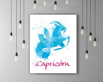 Capricorn Art Birthday Present, Constellation Gift January Birthday Horoscope Art Gift, Zodiac Wall Art Capricorn Print, Astrology Poster