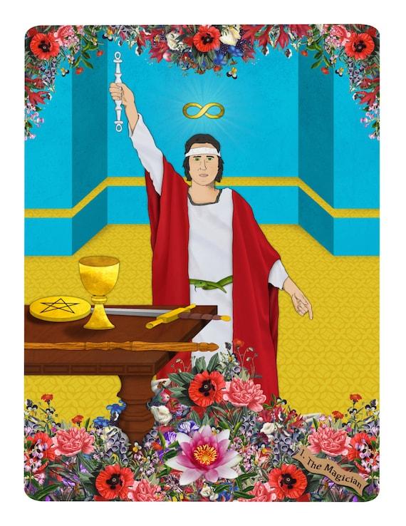 TAROT: I The Magician_ SALE Tarot Card Major Arcana Fortune Teller Rider-Waite Deck Divination Wand Cup Sword Pentacle Heaven Flower Snake