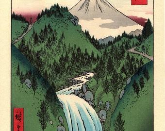 "Woodblock print, Japanese Ukiyoe, Hiroshige, ""In the Mountains of Izu Province "", Thirty-six Views of Mount Fuji ."