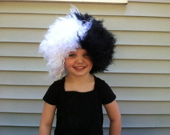 Toddler Halloween, Halloween costume, Cruella deville, deville costume, deville wig, Cruella de Vil wig, de Vil costume, Black and white wig