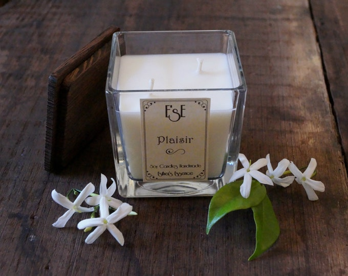"Soy Candle, Jasmine, ""Plaisir"", 7oz /4oz, Wedding, Favors, Luxury candle, Jar Glass, Scented, Gift idea, Floral, Gift for her, Labels Custom"