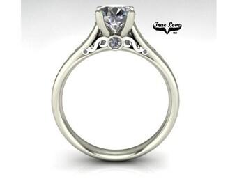 Moissanite Engagement Ring 14kt White Gold, Forever One, Wedding Ring #07562
