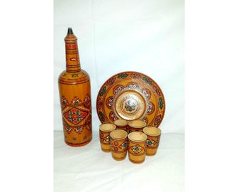 Vintage Hand Carved Wood Decanter Set,8 Pc Set,Hand Painted, Decanter Set, Wood Carved, Cordial Cups, (6), Wooden Decanter Set, Bulgaria