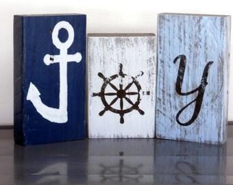 Beach Christmas Decor JOY Sign-Coastal Decor Shelf Sitters-Reclaimed Wood Sign-JOY Christmas Sign-Coastal Christmas-Mantel Decorations