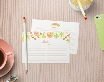 Recipe Cards Set of 15, 30 or 50 - Spring Floral Design - 4x6 Recipe Cards - High Quality Linen Cardstock