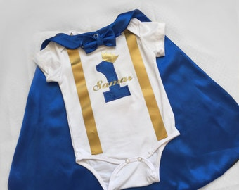 Birthday Cape, Blue 1st Birthday Outfit, First Birthday Outfit, Cake Smash Outfit Boy, Birthday Prince, Baby Boy 1st Birthday Outfit