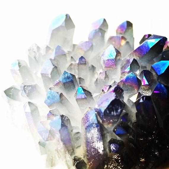 Rainbow Quartz Stone : Rainbow aura quartz crystal raw gemstone specimine