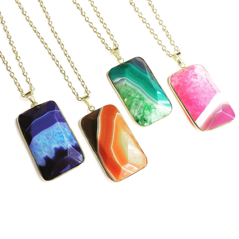 Orange agate slice necklace gemstone necklace crystal