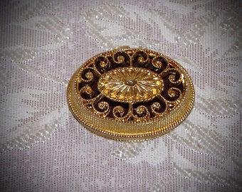 Vintage Max Factor Solid Perfume Compact Gold Tone Oval Shape Amber with Scroll Work 1960's