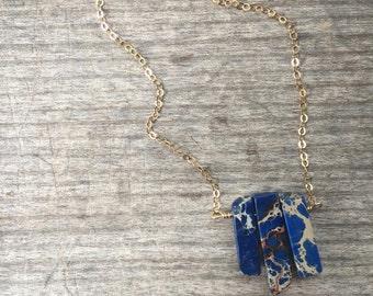 Petite Royal Blue Jaspar Spike Necklace - Spike Necklace - Blue Spike Necklace - Gift for her - Spike Necklace - Unique Gift - Blue Necklace