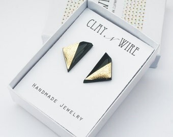 Geometric Earrings, Black Studs, Geometric Studs, Black and Gold Jewelry, Edgy Jewelry, Minimalist Polygon Studs, Hypoallergenic Titanium