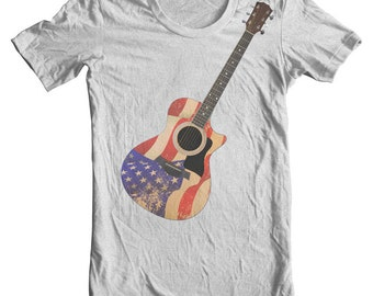 4th of July Guitar Tee July 4th shirt Patriotic shirt American Flag Clothing Red white & blue tee women American Flag shirt Americana Stars