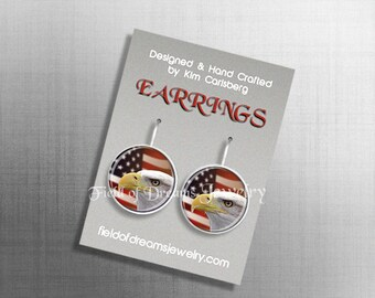 BALD EAGLE and Flag Earrings Patriotic Earrings Patriot Jewelry Flag Jewelry Bald Eagle Jewelry Patriot Earrings Old Glory Red White Blue