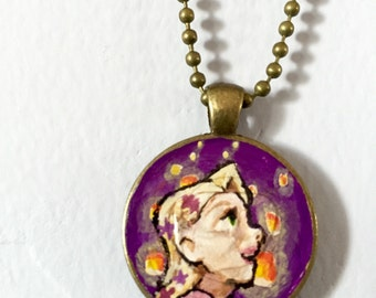 Hand Painted Rapunzel Lantern Pendant *DISCOUNTED ITEM*