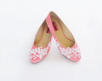 White Lace Pink Wedding Flats Blossom Floral Leave Blush Bridal Shoe Pastel Bridesmaid Ballet Flats Low Heel Wedding Shoe For Bride For Her