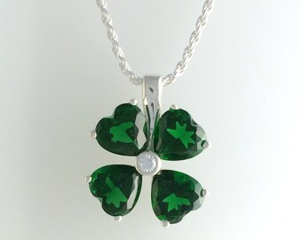 St. Patrick's Day Four Leaf Clover Pendant w/ Heart Shaped Synthetic Emeralds in Sterling Silver w/ 1.5 mm Rope Chain  - Shamrock Necklace