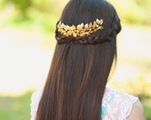 Gold wedding comb Bridal headpiece Gold leaves bridal comb Gold headpiece Gold leaf hair comb Leaf headpiece Gold hair accessory