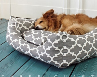 Dog bed, dog, cat, gray, white, pattern, geometric, light gray, cozy, soft, cuddly, washable, roost, pillows