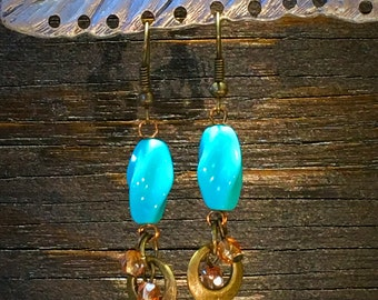 Vintage, Crystal, and Brass Beaded Earrings