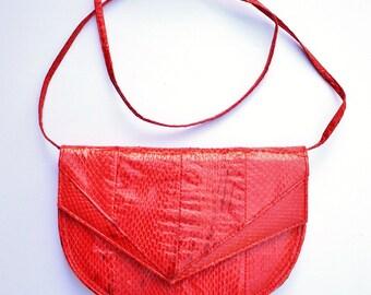 Vintage Retro 1980s 80s Red Snakeskin Leather Shoulder Bag Purse Handbag, Signed IMPO