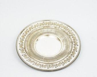 Vintage silver plate Vintage tableware Metal Tableware Small metal tray Vintage plate Italian antique Silver tableware Small silver plate