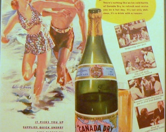 1937 Canada Dry Ginger Ale Ad Matted Vintage Print