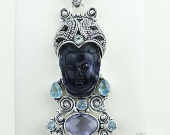 Majestic Creation! Kwan Yin Guanyin BUDDHA Goddess Face Moon Face 925 S0LID Sterling Silver Pendant + 4MM Chain & Free Shipping p3758
