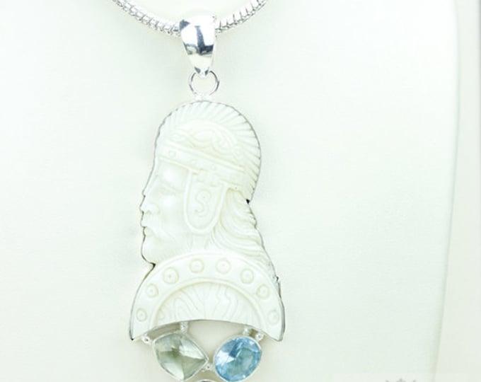 Norse Mythology Baldur - God of Beauty TOTEM Goddess Face Moon Face Bone Carving 925 S0LID Sterling Silver Pendant + 4MM Chain p3913