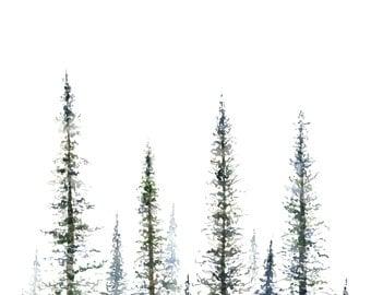 Pine Tree Print - tree art - tree painting - greenery - christmas tree - mountains - forest - tree watercolor - fir tree - fir - pine tree