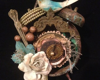 Altered Steampunk Clock Steampunk Art Assemblage Clock With Vintage Bird Silver Spoon and Jewelry Vintage Inspired Art Unique Gift Eclectic