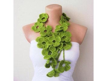 Green Flower Scarf, flower scarf, hand crochet, lariat scarf, strand necklace, boho scarf, crochet jewelry