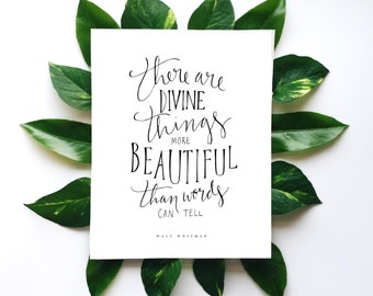 """Walt Whitman Quote Poster, Printable Lettering Art Print, """"Divine Things,"""" Digital Download 8x10 Calligraphy Wall Art"""