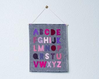 alphabet (pink & purple) -- wall hanging / banner // nursery decor, alphabet wall banner, pink purple girl nursery wall decor banner