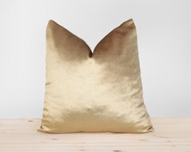 Gold Velvet Pillow Cover Solid Gold Cushion Shiny Gold Velvet Throw Pillow Metallic Gold Velvet Pillowcases  16x16 18x18 20x20 22x22 24x24