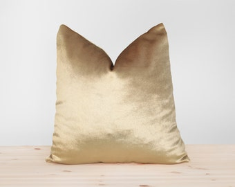 Perfect Gold Velvet Pillow Cover Solid Gold Cushion Shiny Gold Velvet Throw Pillow  Metallic Gold Velvet Pillowcases