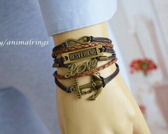 Best Friend Bracelet, Anchor Bracelet, Love Bracelet, Infinity Bracelet, Charm Bracelet, Leather Bracelet, Friendship Bracelet, Brown