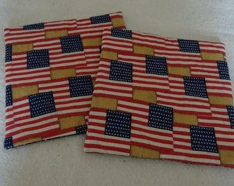 Flag Pot Holders, Set Of Two Pot Holders, Cloth Pot Holders, Quilted Pot Holders, Patriotic Pot Holders, Hostess Gift, Pot Holders, July 4th