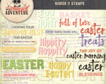 Digital scrapbooking elements, Easter, digital download, word art, stamps, Easter sayings, stitches, spring, Easter words, Photoshop brushes