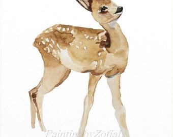 baby deer original watercolor painting fawn painting baby deer painting  24x32cm (9,4x12,6in)