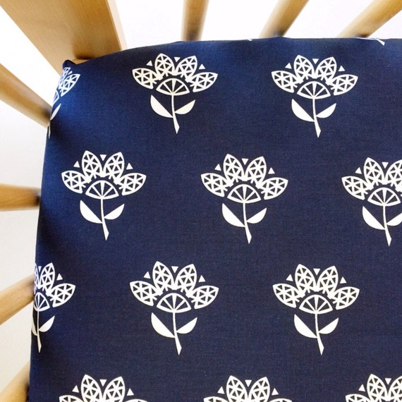 Crib Sheet >> Bluebird Cornflower in Indigo >> Fitted Crib Sheet >> Baby Toddler Bedding >> ready-to-ship